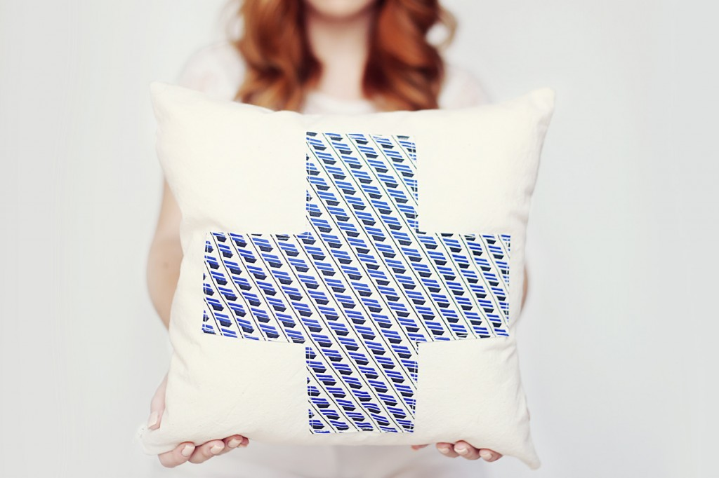 Swiss Cross Throw Pillow | Persian Blue| England Avenue Pattern