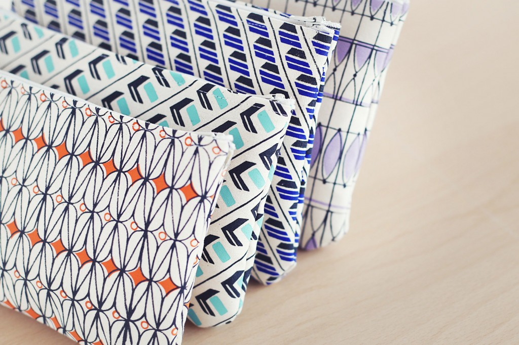 Zipper Pouches | Coral, Mint, Blue, Lavender | Various Patterns