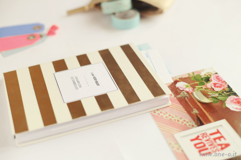 diy kate spade inspired planner 2015 | via www.one-o.it | #diy #planner #agenda #striped #golden #notebook