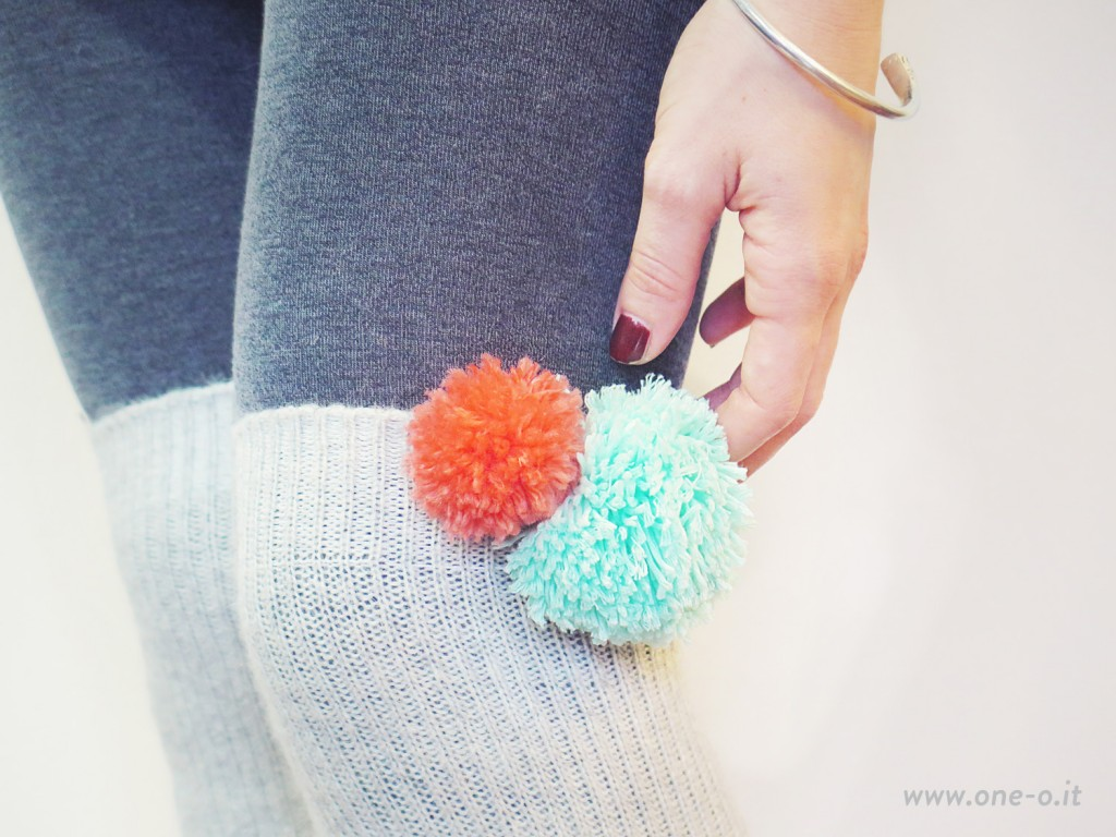 pompom applique leg warmers