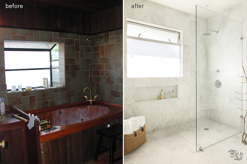 Bathroom Before and After renovation interior decor home via One O