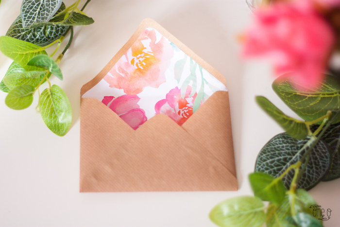 diy wedding floral envelope freebie printable via One O