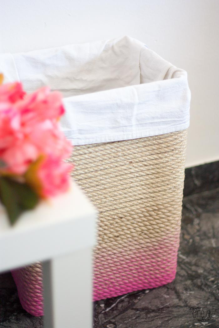 how to make a ombre rope laundry basket 17