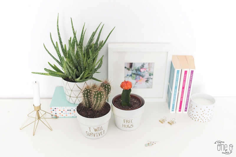 DIY gold quote planter with sharpie | via www-one-o.it
