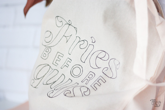 diy tote bag quotefries before guys hand lettering via www.one-o.it